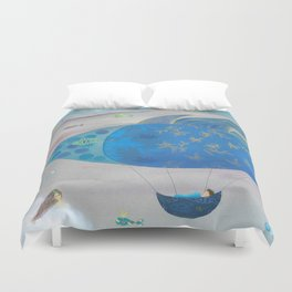 Flying Fish in Sea of Clouds with Sleeping Child Duvet Cover