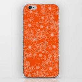 Hand drawn white bright orange modern floral iPhone Skin