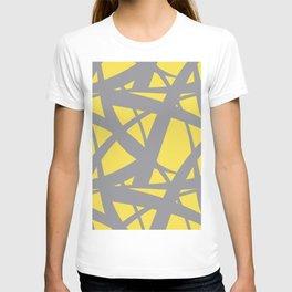 Abstract Mosaic Web Pattern 3 Pantone 2021 Color Of The Year Illuminating and Ultimate Gray T-shirt