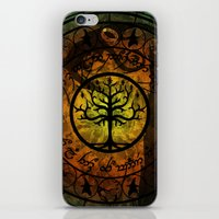 gondor iPhone & iPod Skins featuring Tree of Gondor Stained Glass by Mazuki Arts