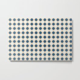 Dark Blue and Off White Uniform Large Polka Dots Pattern on Beige Matches Chinese Porcelain Blue Metal Print