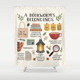 A Bookworm's Belongings Shower Curtain