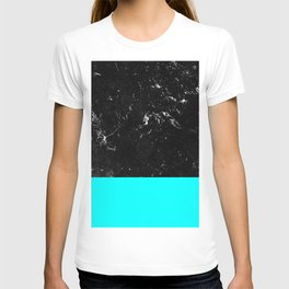 Aqua Blue Meets Black Marble #1 #decor #art #society6 T-shirt
