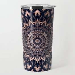Boho rose gold floral mandala on navy blue watercolor Travel Mug