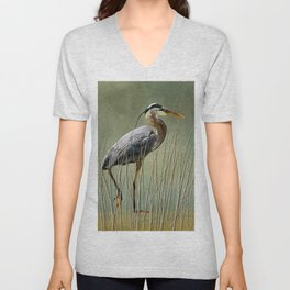Great Blue At The Beach Unisex V-Neck