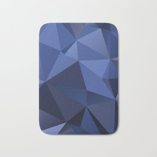 Abstract of triangles polygon in navy blue colors Bath Mat
