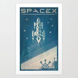 SpaceX retro-futuristic poster design Art Print