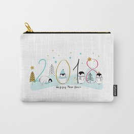 Happy New Year 2018 with penguins Carry-All Pouch