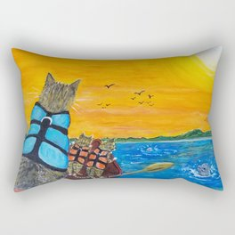 Cats in a boat watching dolphins Rectangular Pillow