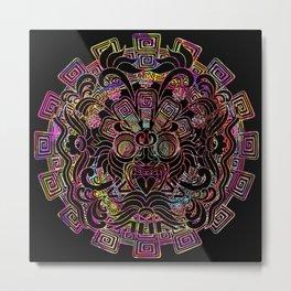 Aztec Sun Psychedelic Mask Metal Print
