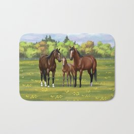 Brown Bay Quarter Horses In Summer Pasture Bath Mat