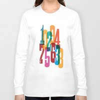 numbers Long Sleeve T-shirts featuring Numbers by Marco Campedelli