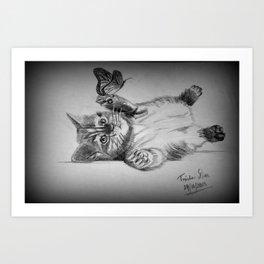 Kitten catching the butterfly Art Print