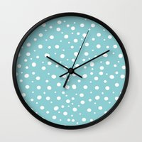 polkadot Wall Clocks featuring White Polkadot by Laura Maria Designs