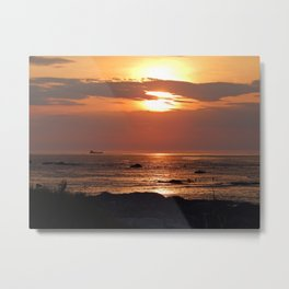 Sunset Seascape with Ship Metal Print