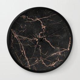 Elegant black rose gold glitter chic marble Wall Clock