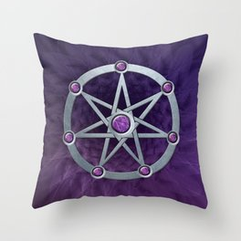 Elven star SIlver embossed with Amethyst Throw Pillow