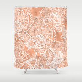 Modern tan copper terracotta watercolor floral white boho hand drawn pattern Shower Curtain