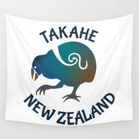 maori Wall Tapestries featuring TAKAHE New Zealand Native bird by mailboxdisco