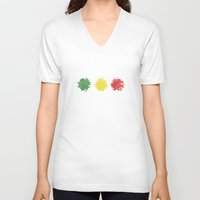rasta V-neck T-shirts featuring rasta by kidz18s