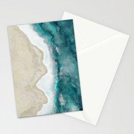 Waves, Beach, Ocean, Blue, Sandy Stationery Cards