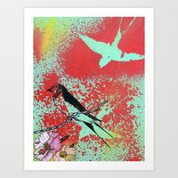 swallow Art Prints featuring Swallow by MinxInk