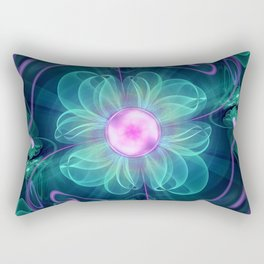The Enigma Bloom, an Aqua-Violet Fractal Flower Rectangular Pillow