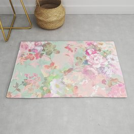 Vintage botanical blush pink mint green floral pattern Rug