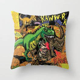 Space Chick & Nympho: Vampire Warrior Party Girl Comix #1- Tyrano the Dinosaur-God  in Comic Page  Throw Pillow