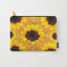 Decorative Golden Yellow  Black Sunflower patterns Carry-All Pouch