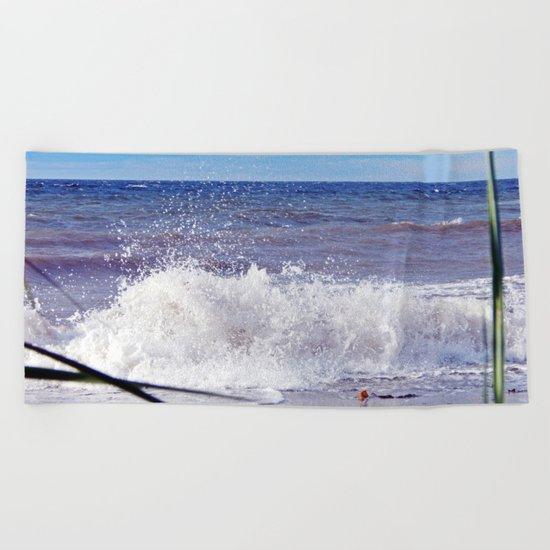 Wave Crashing onto the Beach Beach Towel