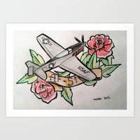 planes Art Prints featuring Planes by CalaelTattoo