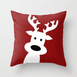 Reindeer on red background Throw Pillow