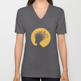 Woman and Butterflies Unisex V-Neck