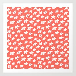 Stars Living Coral Art Print