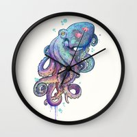 decorative Wall Clocks featuring octopus  by Laura Graves