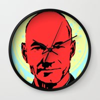 picard Wall Clocks featuring Captain Jean Luc Picard by Chadventure