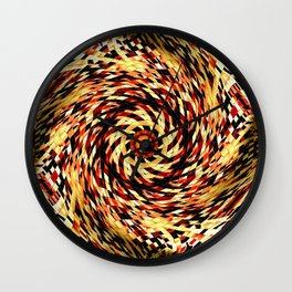 Red Black Yellow Kaleidoscopic Ball Circle Wall Clock