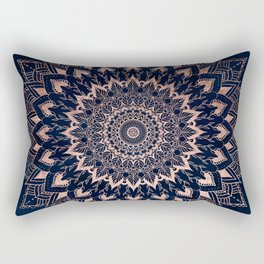 Boho rose gold floral mandala on navy blue watercolor Rectangular Pillow