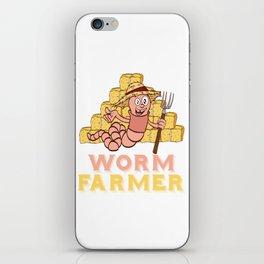 "Gardening Shirt For Gardeners Saying ""Worm Farmer"" T-shirt Design Hobby Garden  Farm Rake iPhone Skin"