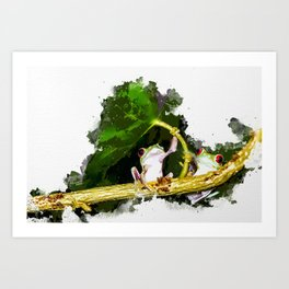 Two Frogs Under a Leaf Art Print