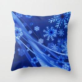 Blue Snowflakes Winter Throw Pillow