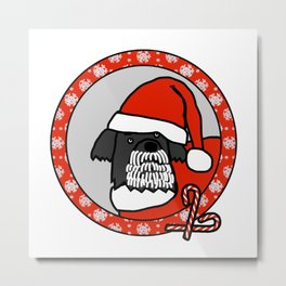 Cute Santa Dog Portrait Metal Print