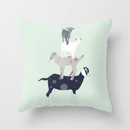 Goat Stack Throw Pillow