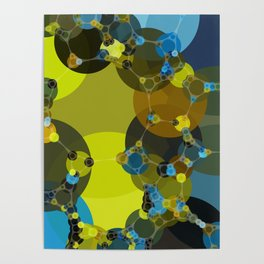 billie -vivid abstract design yellow blue brown chartreuse green Poster
