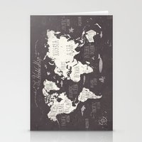 gray Stationery Cards featuring The World Map by Mike Koubou