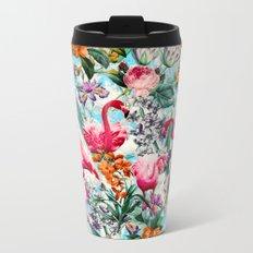 Floral and Flamingo VII pattern Metal Travel Mug