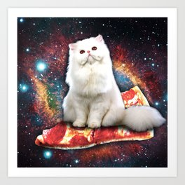 Space cat pizza Art Print