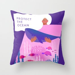 Protect the Ocean Throw Pillow