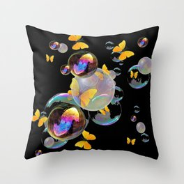 SURREAL GOLDEN YELLOW BUTTERFLIES  & SOAP BUBBLES Throw Pillow
